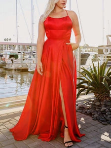 Simple Red Color Prom Dresses, Cheap Long Prom Dresses, Affordable Prom Dresses