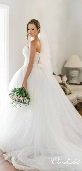 Sweetheart Beaded Top Ball Gown Long Wedding Dresses, Bridal Gown