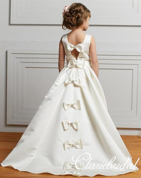 Lovely Ivory Satin A-line Flower Girl Dresses With Knot Bows