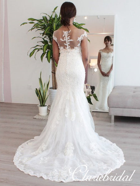 Cap Sleeves iIlusion Lace Mermaid Tulle Wedding Dresses, Bridal Gown