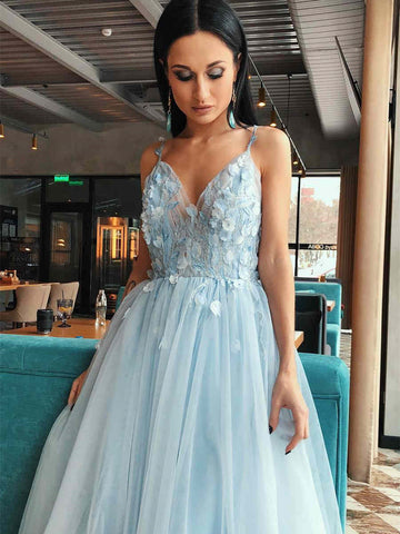 Pale Blue Lace Tulle Prom Dresses, A-line Prom Dresses, 2021 Prom Dresses, Cheap Prom Dresses