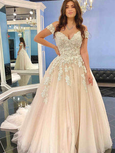 Off Shoulder Lace Prom Dresses, A-line Prom Dresses, Tulle Prom Dresses, Wedding Dresses, Bridal Gown