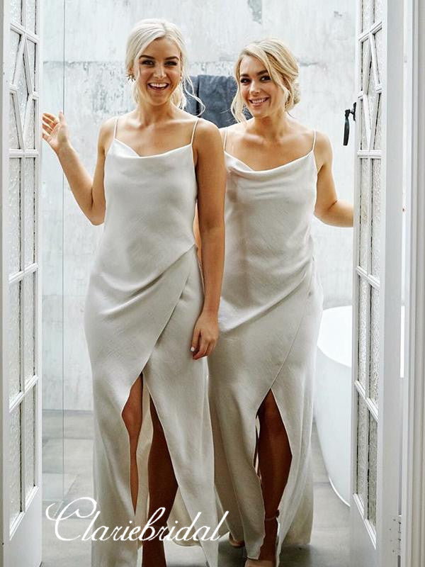 Spaghetti Straps Bridesmaid Dresses, Simple Cheap Bridesmaid Dresses
