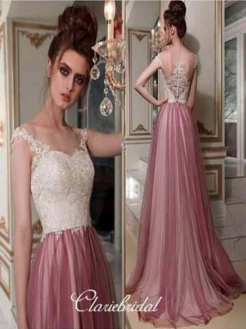 Lace Tulle Prom Dresses, Popular A-line Prom Dresses, Beauty Dresses