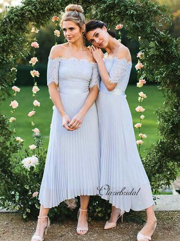 Off The Shoulder Lace Bridesmaid Dresses, Chiffon Bridesmaid Dresses