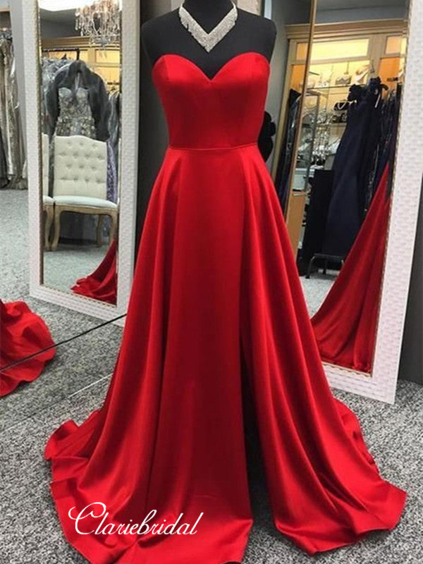 Strapless Satin Prom Dresses, Cheap Prom Dresses, New Prom Dresses