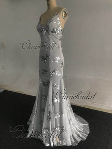 Feedback For Grey Sequin Tulle Prom Dresses
