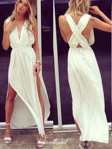 Deep V-neck Sexy Long Prom Dresses, Cheap Slit Prom Dresses