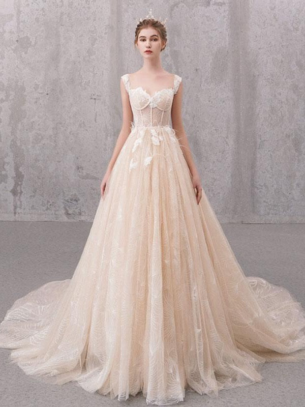Fashion Lace Long Wedding Dresses, High Quality A-line Wedding Dresses