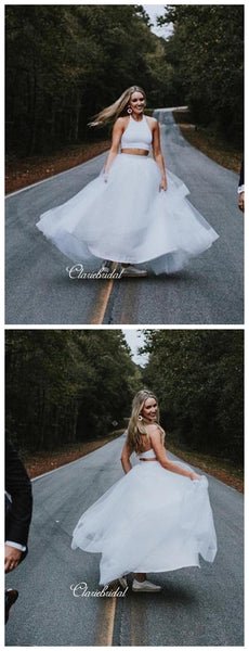 Two Pieces A-line Wedding Dresses, Simple Wedding Dresses