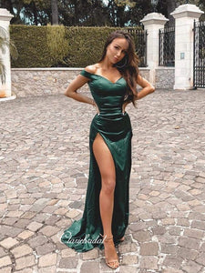 Off Shoulder Simple Prom Dresses, Mermaid Long Prom Dresses, High Slit Prom Dresses