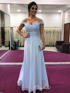 Lace Long Off The Shoulder Prom Dresses, Chiffon Prom Dresses