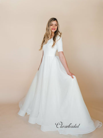 Simple A-line Cheap Wedding Dresses, Popular Tulle Wedding Dresses