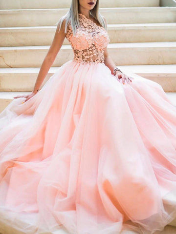 One Shoulder Lace Long Prom Dresses, Pink A-line Newest Prom Dresses 2020