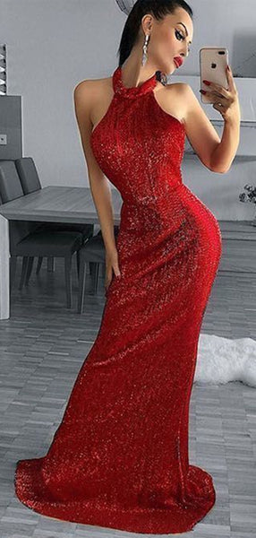 Sexy Backless Long Prom Dresses, Halter 2020 Prom Dresses, New Sequin Prom Dresses