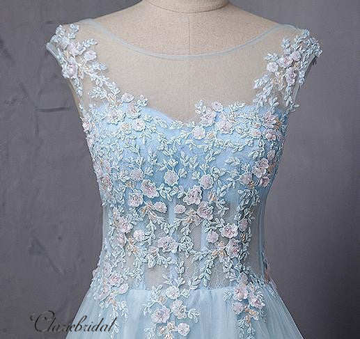 Sky Blue Lace Prom Dresses, Elegant Appliques Prom Dresses, Newest Prom Dresses Long