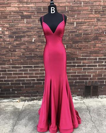 Spaghetti Long Mermaid Elastic Satin Prom Dresses, Cheap Prom Dresses, Prom Dresses