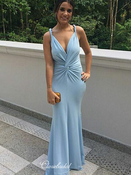 Mermaid Bridesmaid Dresses, Sexy V-neck Wedding Guest Dresses