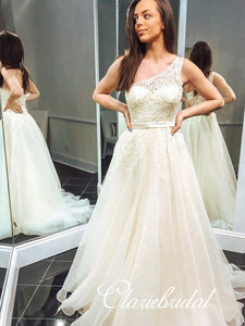 One Shoulder Long A-line Lace Tulle Prom Dresses, Lovely Prom Dresses, 2020 Prom Dresses