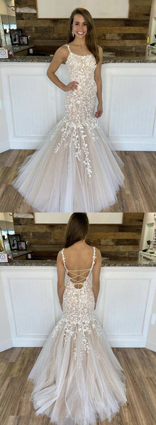 Staps Lace Tulle Prom Dresses, Lovely Ivory Prom Dresses, Lace Up Prom Dresses