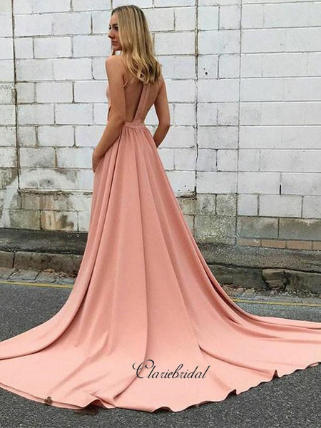 Unique Halter Design Prom Dresses, A-line Long Prom Dresses, Fancy Prom Dresses