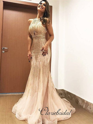 Luxury Mermaid Beaded Prom Dresses, Elegant Shiny Prom Dresses 2019
