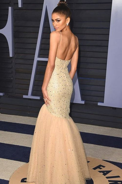 Taylor Hill Long Mermaid Celebrity Dresses, Beaded Prom Dresses, Long Prom Dresses