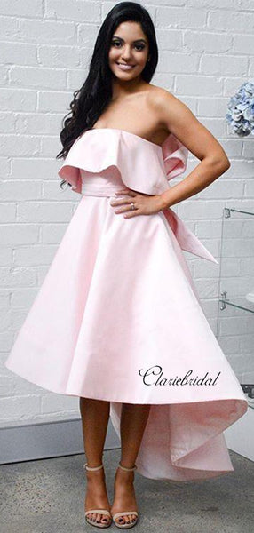High Low Strapless Bridesmaid Dresses, Elegant Pink Bridesmaid Dresses