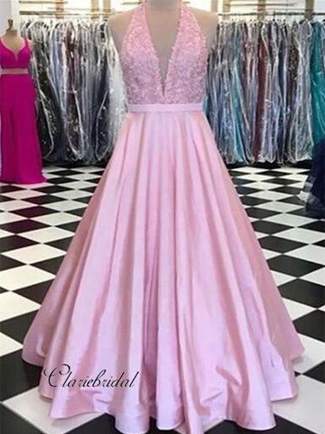 Deep V-neck Halter Prom Dresses, A-line Satin Long Prom Dresses 2019