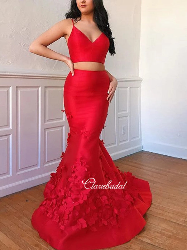 Two Pieces Appliques Long Prom Dresses, Mermaid Prom Dresses
