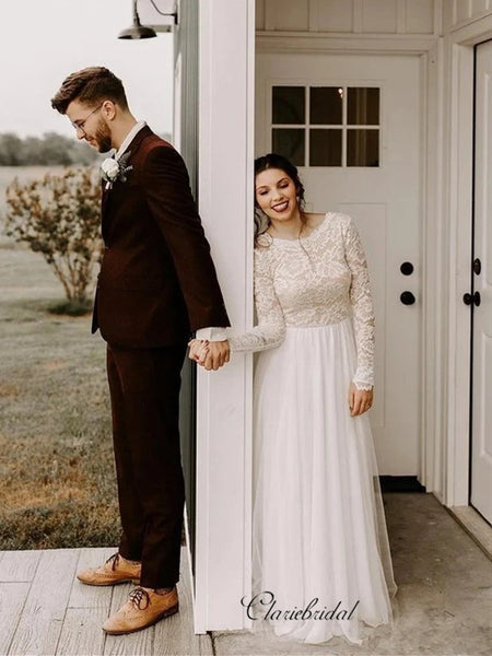 Long Sleeves Lace Wedding Dresses, Beauty A-line Wedding Dresses, Bridal Gowns