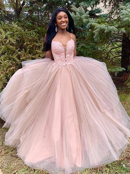 Spaghetti Long A-line Dusty Pink Lace Tulle Prom Dresses, Long Prom Dresses, 2020 Prom Dresses