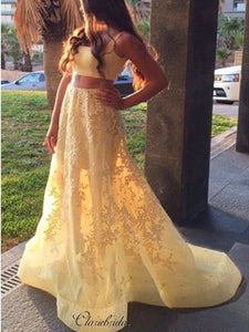 Two Pieces Yellow Prom Dresses Long, A-line Lace Prom Dresses