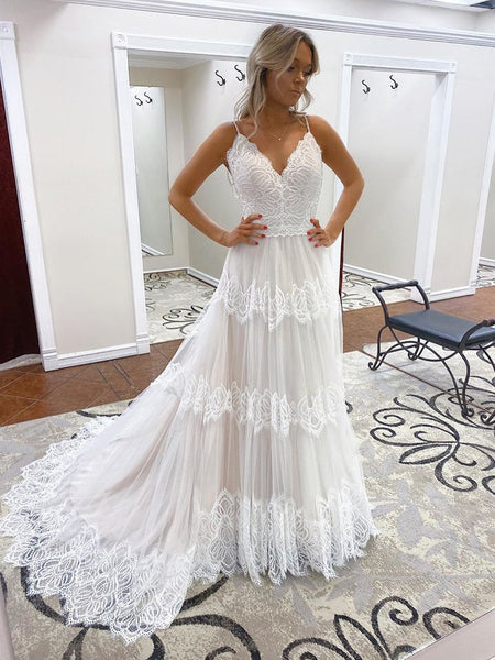 Spaghetti Long A-line Ivory Lace Tulle Wedding Dresses, Popular Wedding Dresses, Bridal Gown