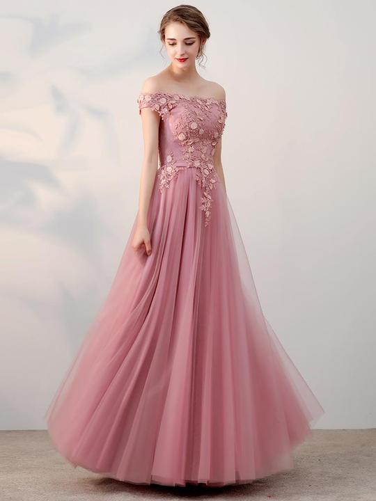 Off Shoullder Dusty Pink Tulle Appliques Prom Dresses, Long Prom Dresses