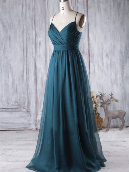 Long A-line Tulle Bridesmaid Dresses, Simple Long Bridesmaid Dresses, Newest Bridesmaid Dresses