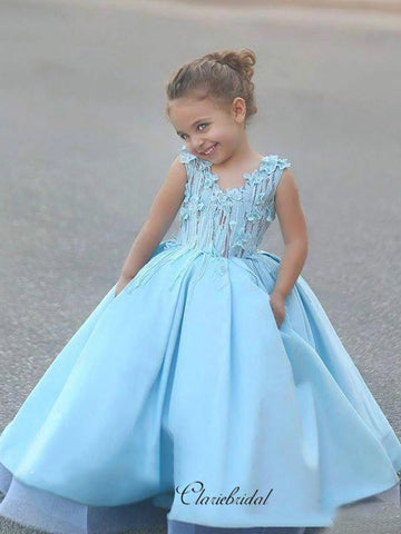 Appliques Satin Flower Girl Dresses, Fancy A-line Wedding Girl Dresses