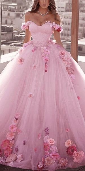 Off Shoulder Long Ball Gown Wedding Dresses, Beaded 3D Flowers Wedding Dresses, Long Wedding Gown