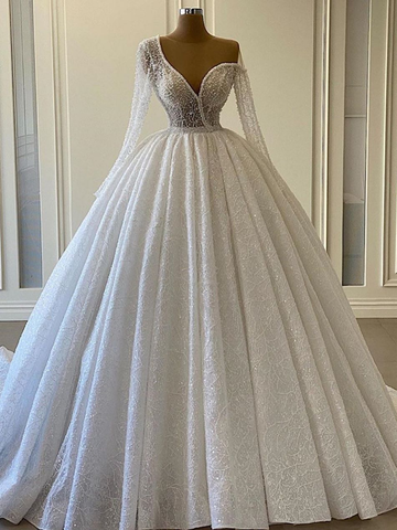 Gorgeous Sequin Lace Long Ball Gown Wedding Dresses, Long Sleeves Wedding Dresses, 2021 Wedding Dresses