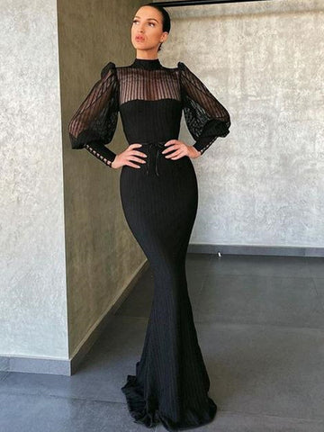 Black Color Evening Party Prom Dresses, Mermaid Design Long Sleeves 2021 Prom Dresses