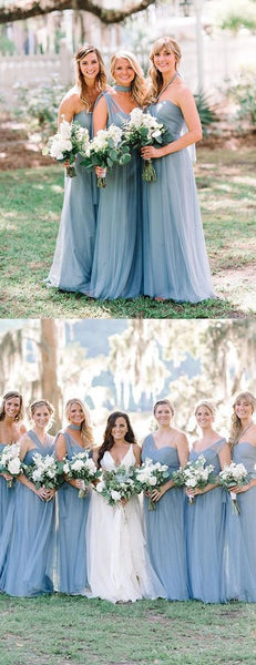 Convertible Long A-line Dusty Blue Tulle Bridesmaid Dresses