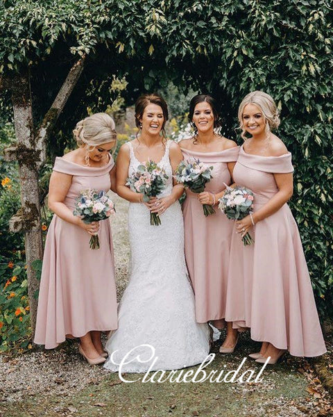 Off Shoulder Pink Hi-low Lovely Bridesmaid Dresses