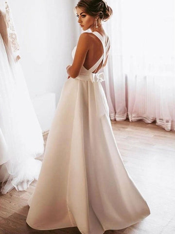 White Color Girl Graduation Party Evening Dresses, A Line Satin 2021 Long Prom Dresses