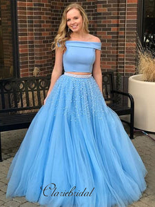 Sky Blue Fashion Off Shoulder Prom Dresses, 2 Pieces Beaded A-line Prom Dresses