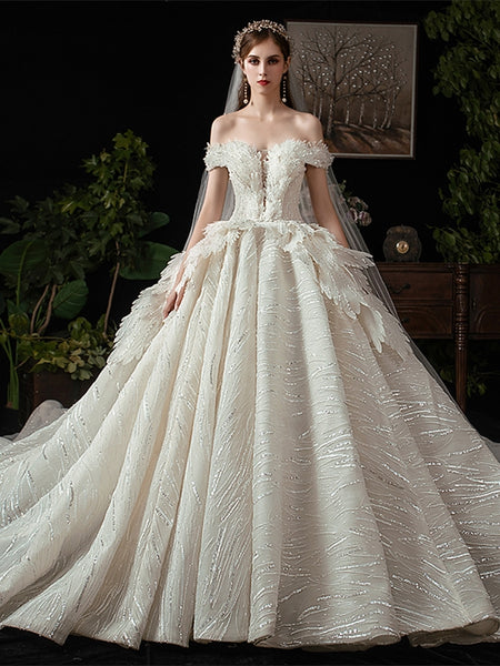 Off Shoulder Long Ball Gown Sequin Feather Wedding Dresses, Sparkle Wedding Dresses, Bridal Gown