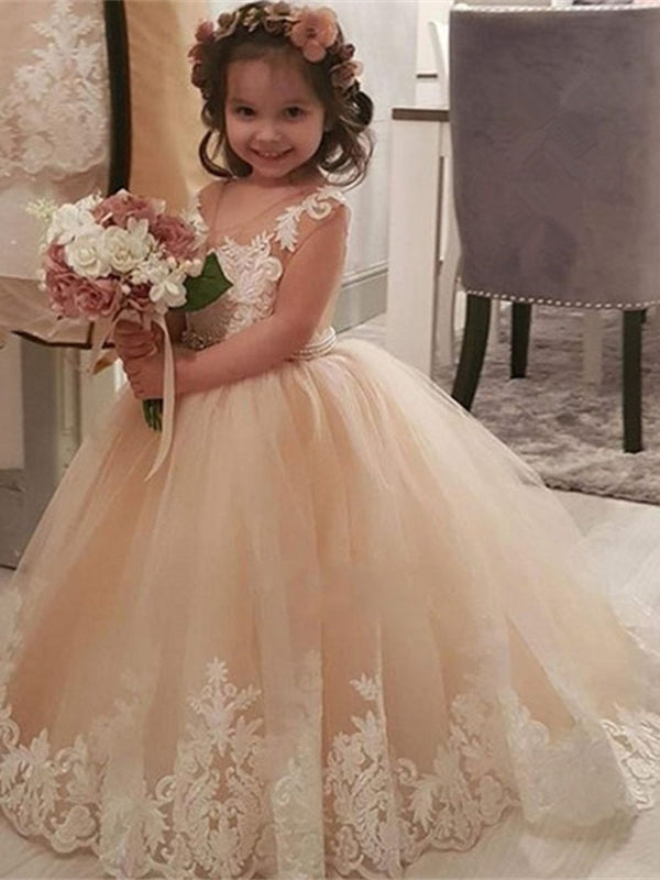 Round Neck Long A-line Lace Tulle Flower Girl Dresses, Pricess Dresses, Little Girl Dresses