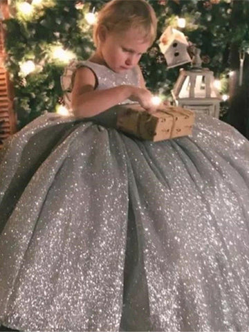 Round Neck Long Grey Sparkle Flower Girl Dresses, Shiny Flower Girl Dresses, Little Girl Dresses