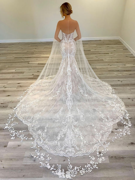 Sweetheart Long Mermaid Lace Wedding Dresses, Newest Wedding Gown, 2020 Wedding Dresses