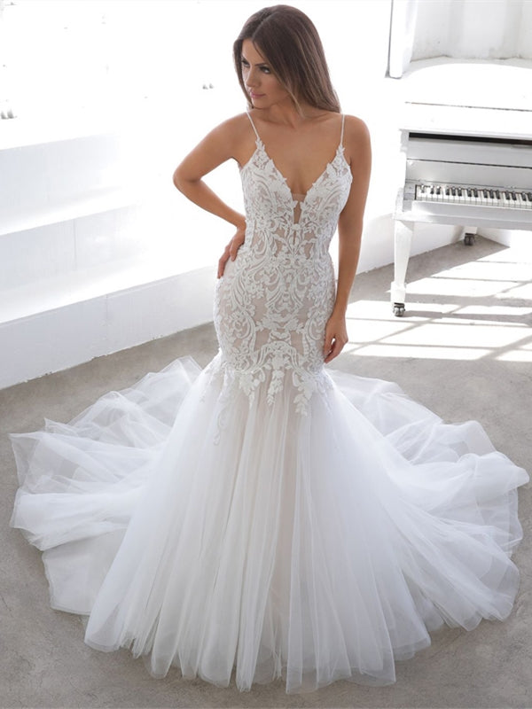 Spaghetti Long Mermaid Lace Tulle Wedding Dresses, Lace Mermaid Wedding Dresses, Newest 2020 Wedding Gown
