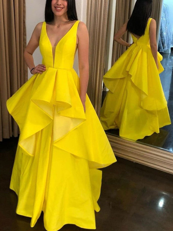 High Low V-neck Layered Long Prom Dresses, A-line Yellow Elegant Prom Dresses